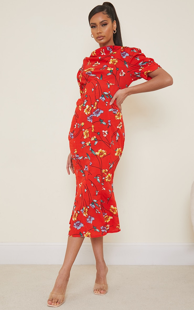 Red Floral Print Puff Sleeve Draped Neck Midi Dress 1