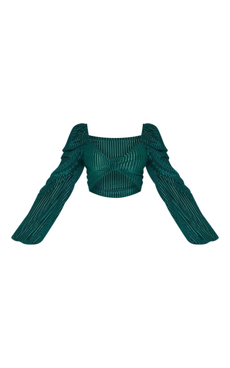 Crop top en velours côtelé vert émeraude à manches bouffantes 3