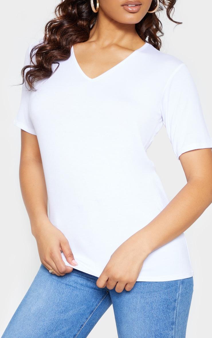 Tall White Basic V Neck T shirt 5
