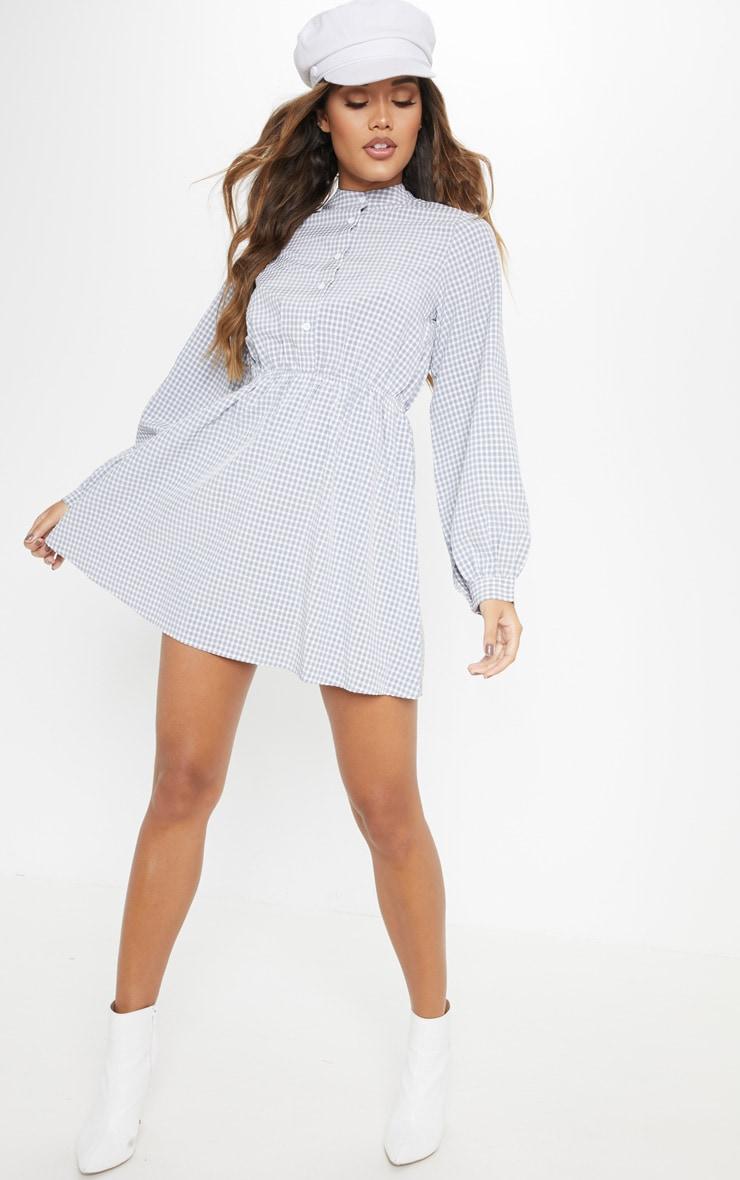 Robe chemise sans col grise imprimé vichy