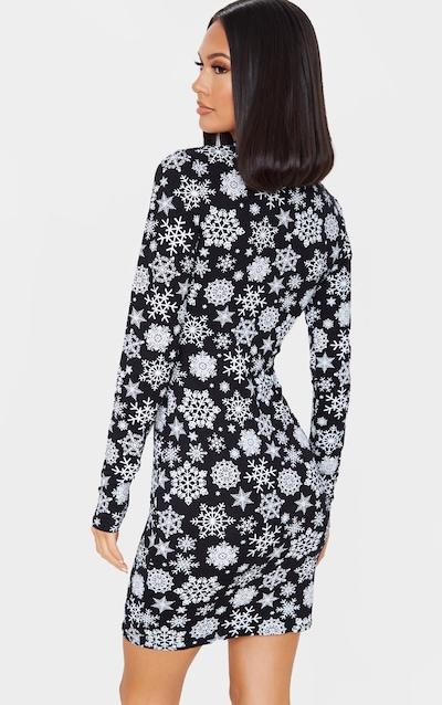 Black Snowflake Print Long Sleeve Bodycon Dress
