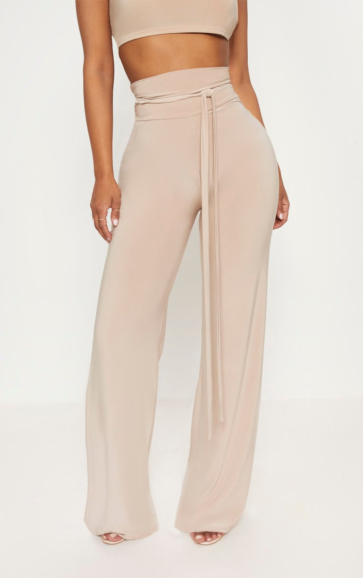 Shape Stone Slinky Extreme High Waist Detail Wide Leg Trousers 2