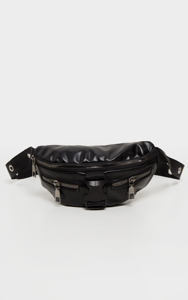 Black PU Multi Zip Seat Belt Fanny Pack 2
