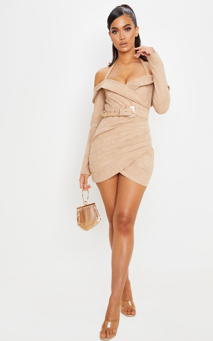 Stone Faux Suede Bardot Dress 4