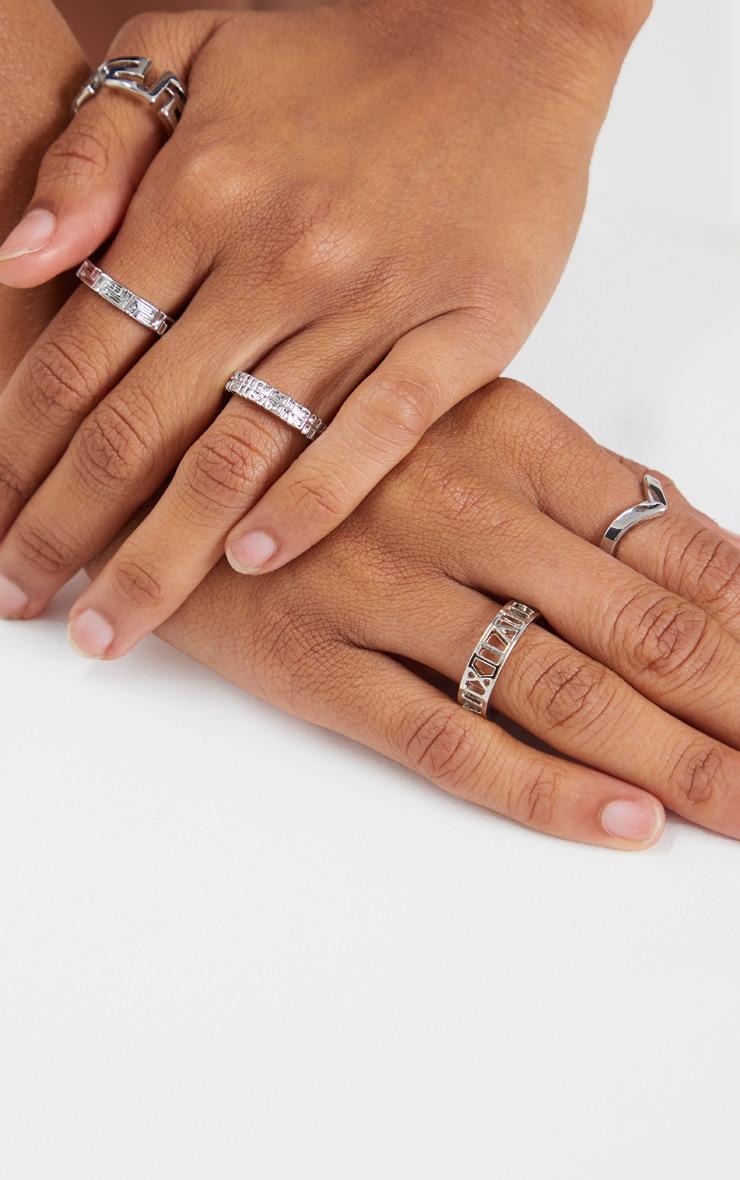 Silver Roman Multi Shape Five Set Ring Pack 1