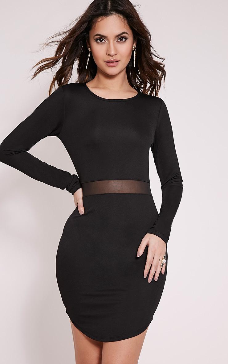 Alby Black Mesh Detail Curve Hem Dress 1