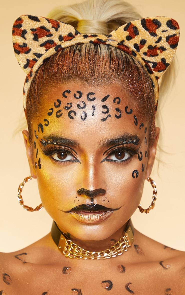 PRETTYLITTLETHING Black Leopard Face Sticker 1