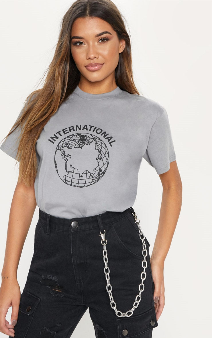 Space Grey International World Printed Slogan T-Shirt