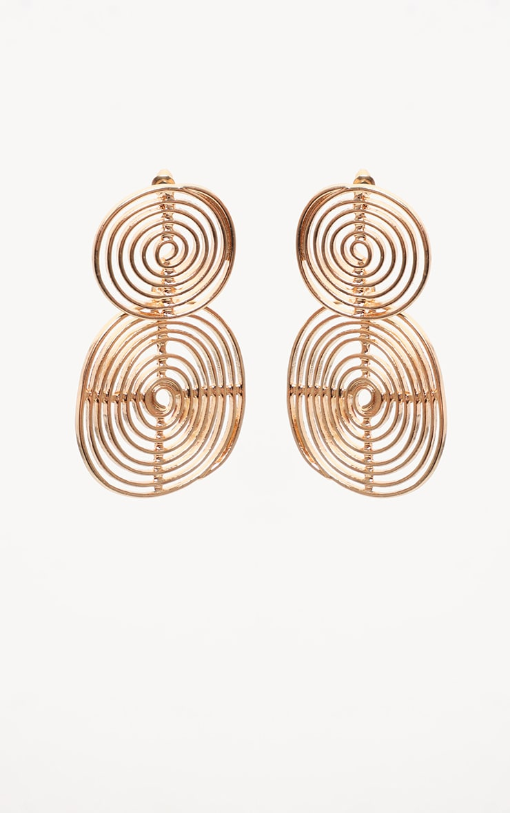 Gold Swirl Double Drop Earrings 2
