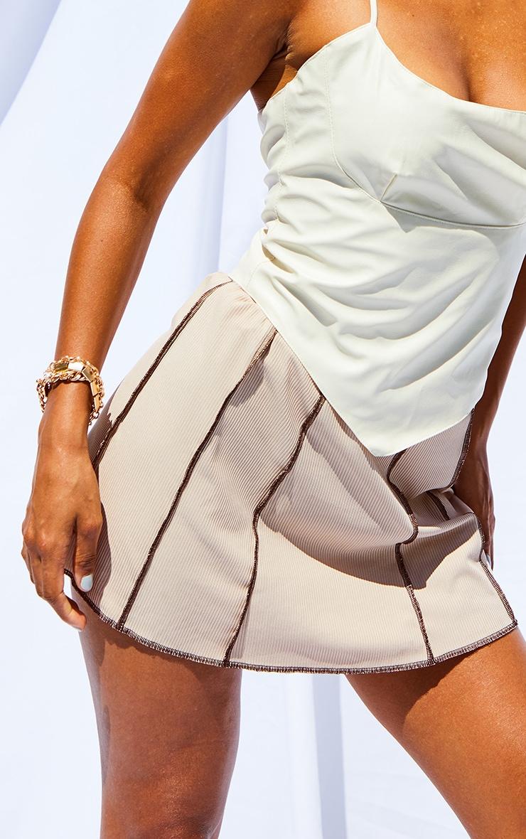 Stone Contrast Stitch Skater Skirt 5