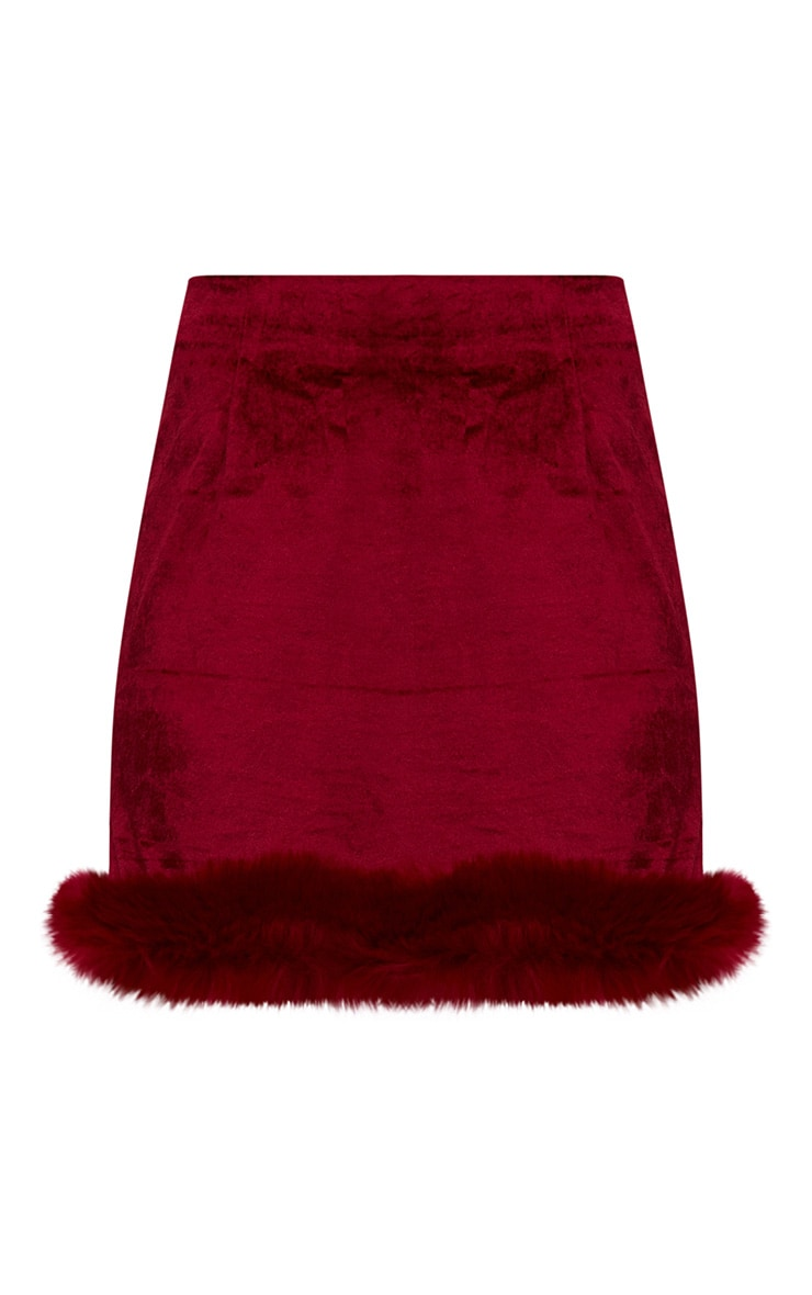 Burgundy Velvet Fur Trim Check Mini Skirt 3