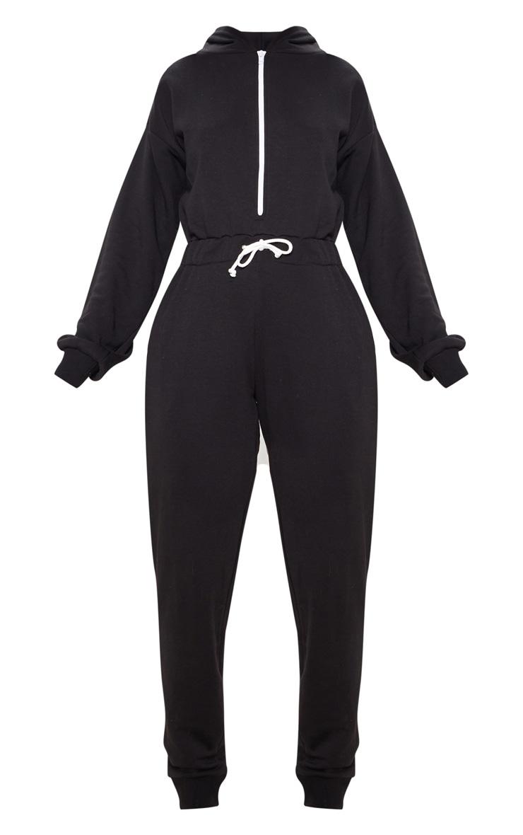 Black Long Sleeve Hooded Sweat Jumpsuit 3