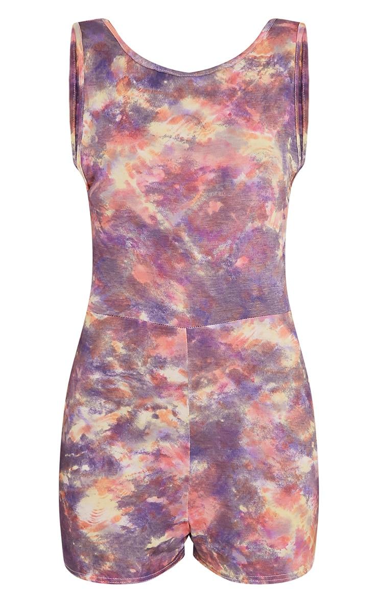 Rosileena Purple Scoop Back Tie Dye Playsuit 3