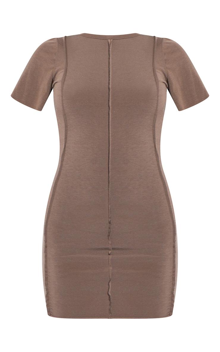 RENEW Light Chocolate Jersey Raw Seam Short Sleeve Bodycon Dress 5