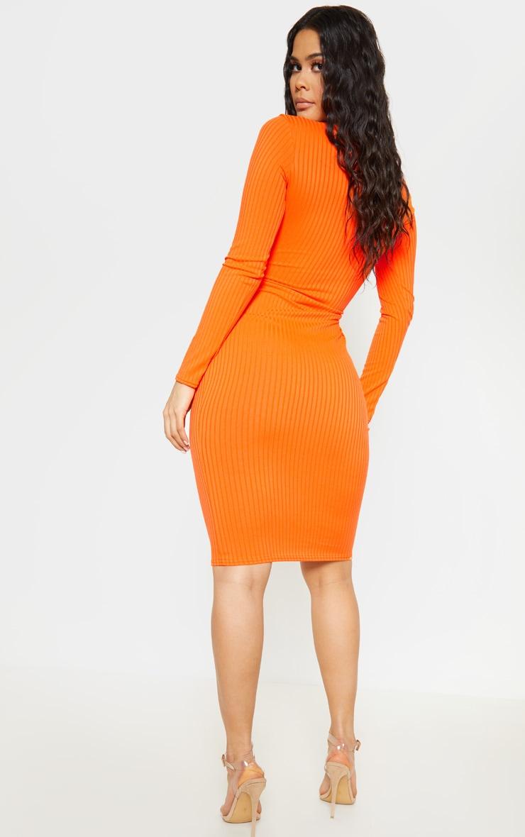Orange Ribbed Long Sleeve Tie Waist Midi Dress 2