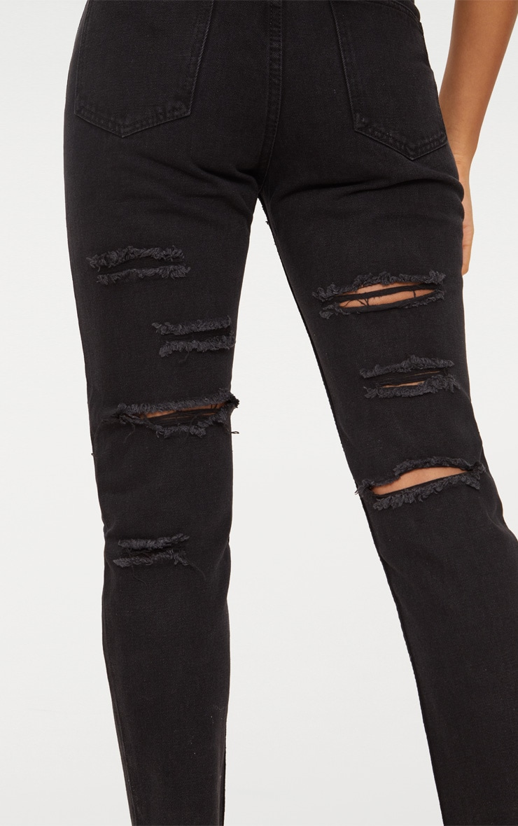 Black Distressed Back Boyfriend Jean 5