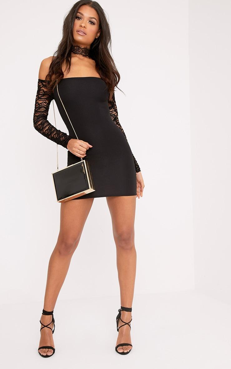 Larsia Black Lace Sleeve Bardot Bodycon Dress 4