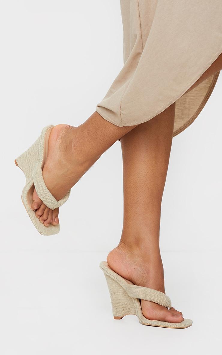 Sand Towelling Wedge Toe Thong Heels 1