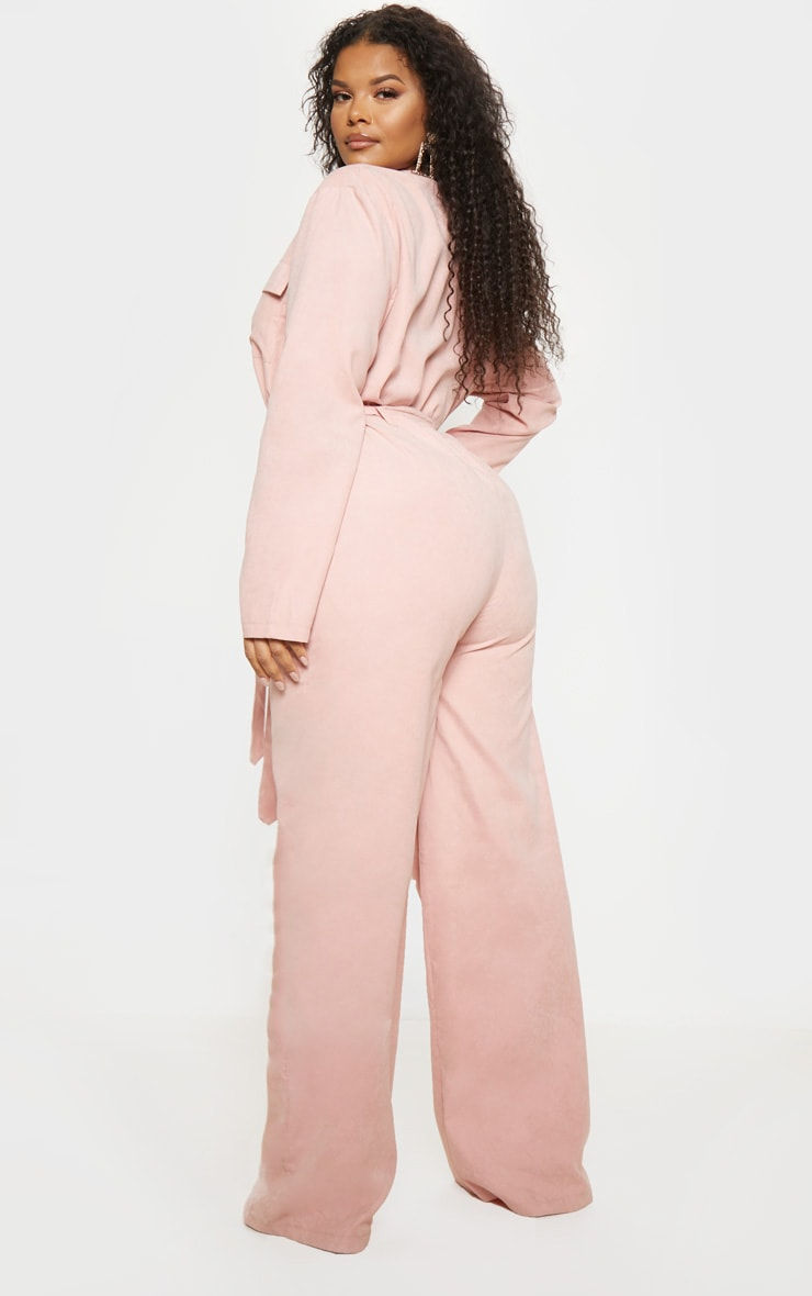Plus Pink Faux Suede Button Front Wide Leg Jumpsuit  2