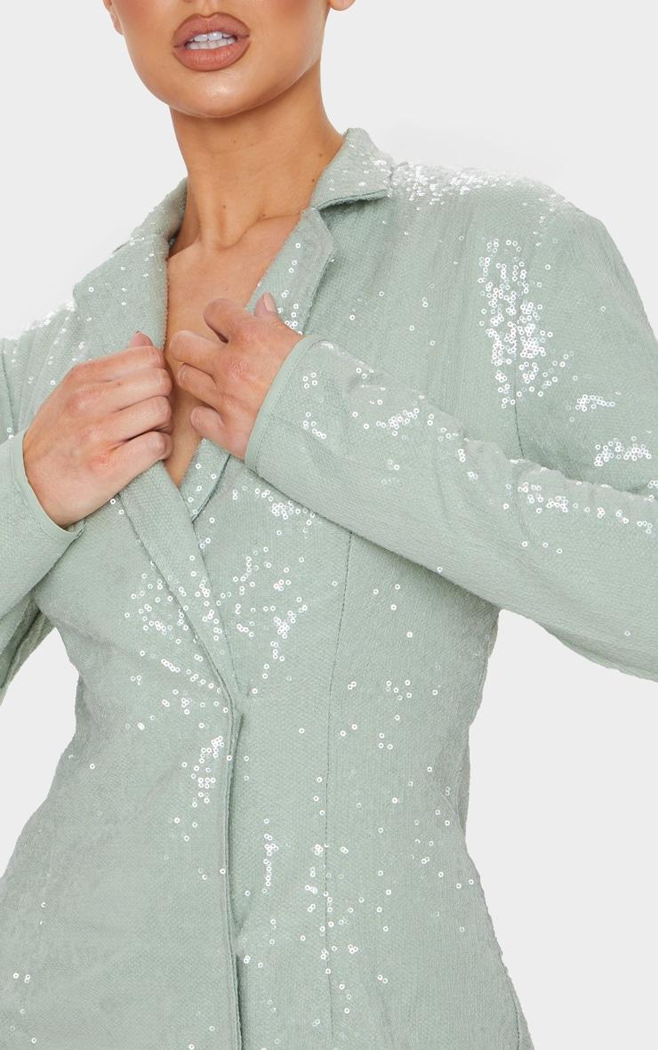Sage Green Sequin Blazer Dress 4