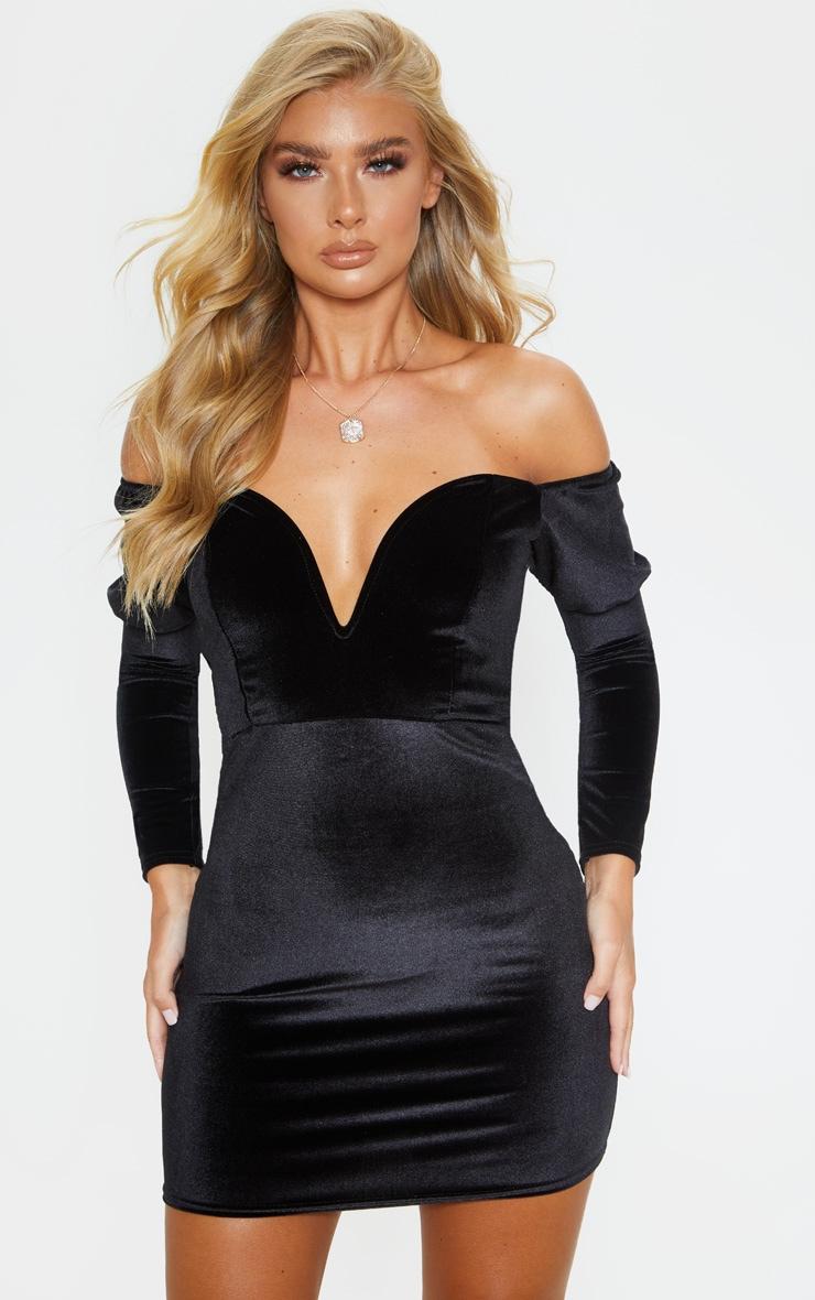 Black velvet long sleeve bodycon dress skirt