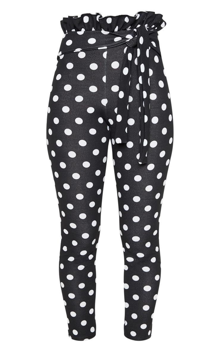 Pantalon skinny noir à pois froncé à la taille 3