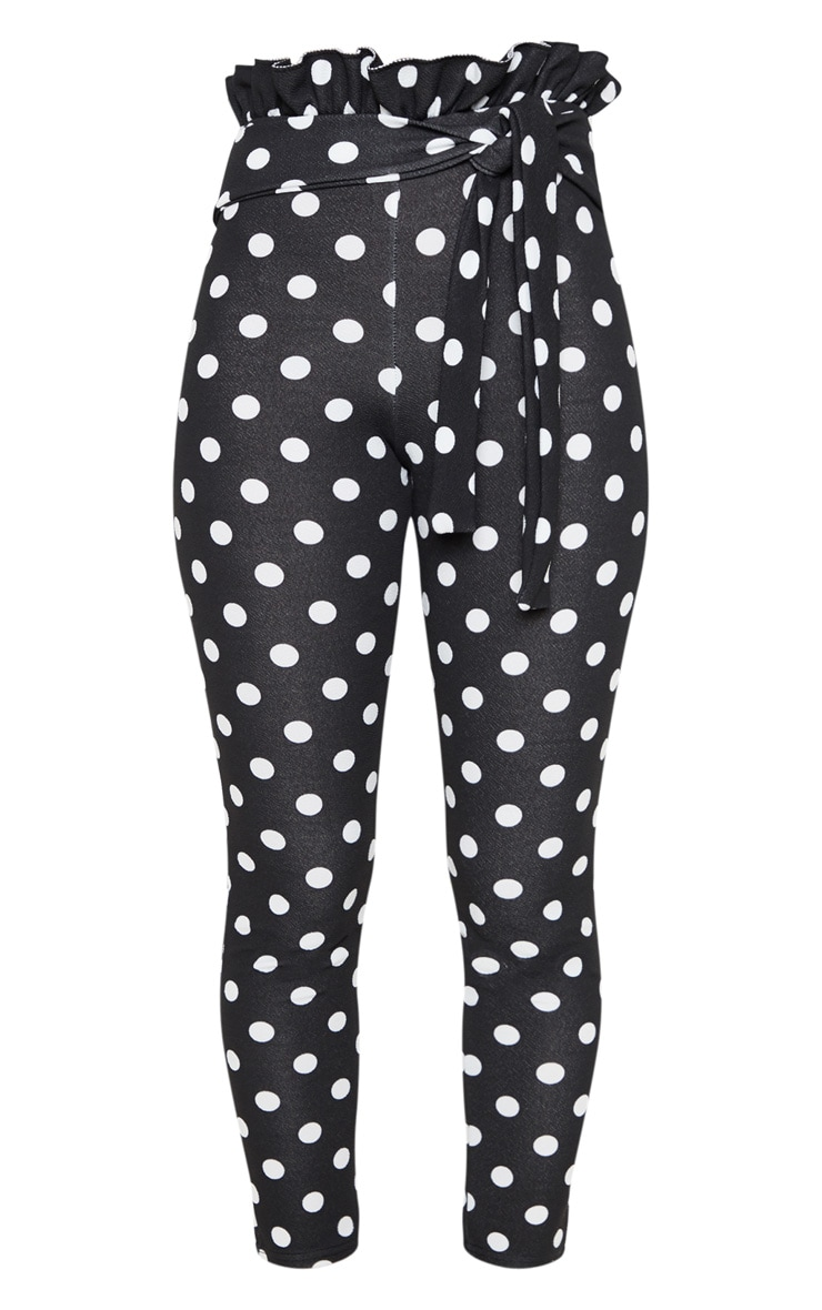 Black Polka Dot Paperbag Waist Skinny Pants 3