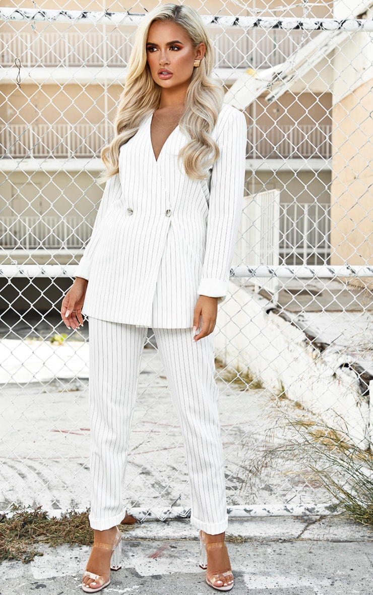 White Pinstripe Double Breasted Oversized Blazer