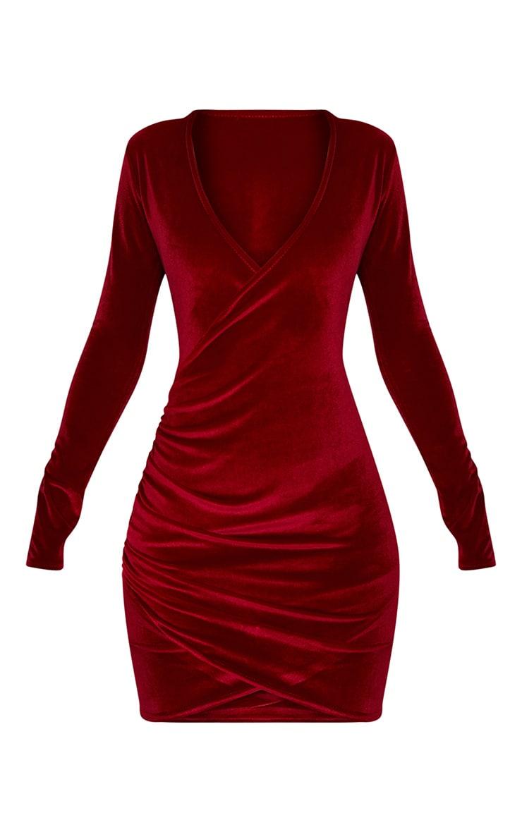 Burgundy Wrap Plunge Ruched Detail Bodycon Dress  3