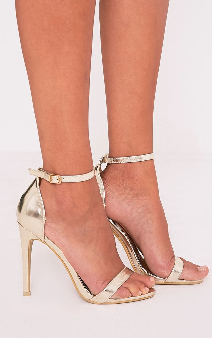 Clover Gold Metallic Strap Heeled Sandals 1