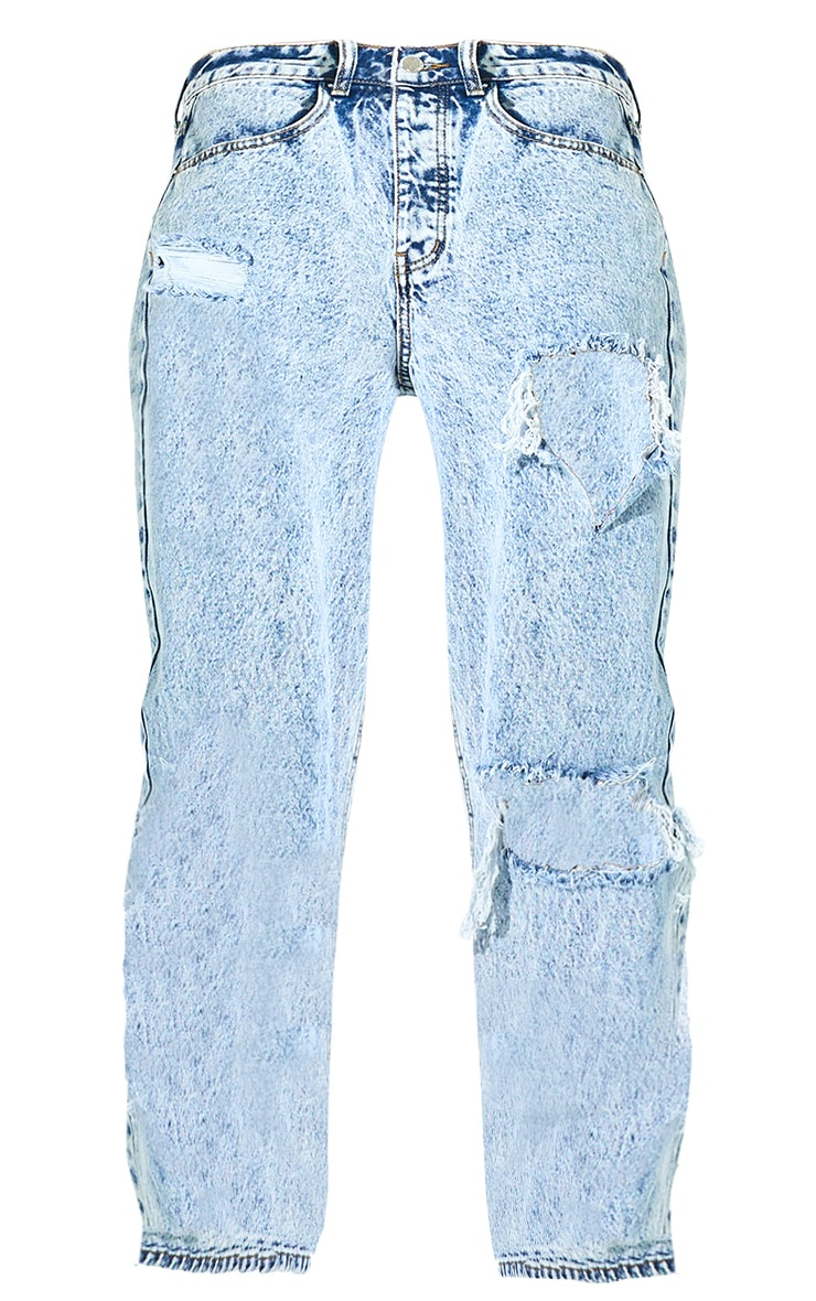 PRETTYLITTLETHING Acid Blue Wash Open Knee Boyfriend Jeans 5