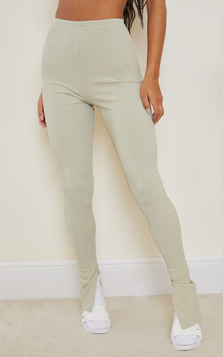 Sage Khaki Ribbed Split Hem Leggings 2