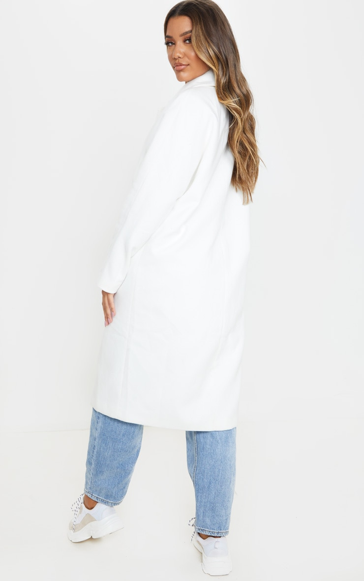 Cream Boyfriend Oversized Midi Coat 2