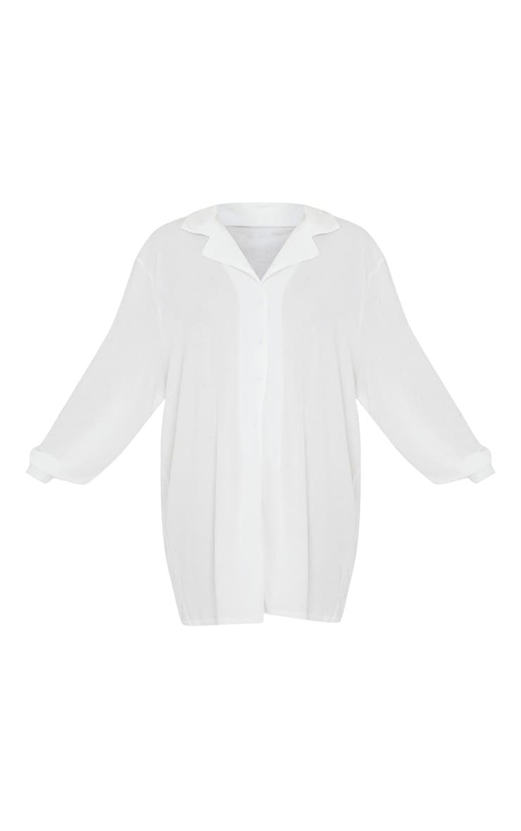 White Crinkle Crepe Oversized Nightshirt 5