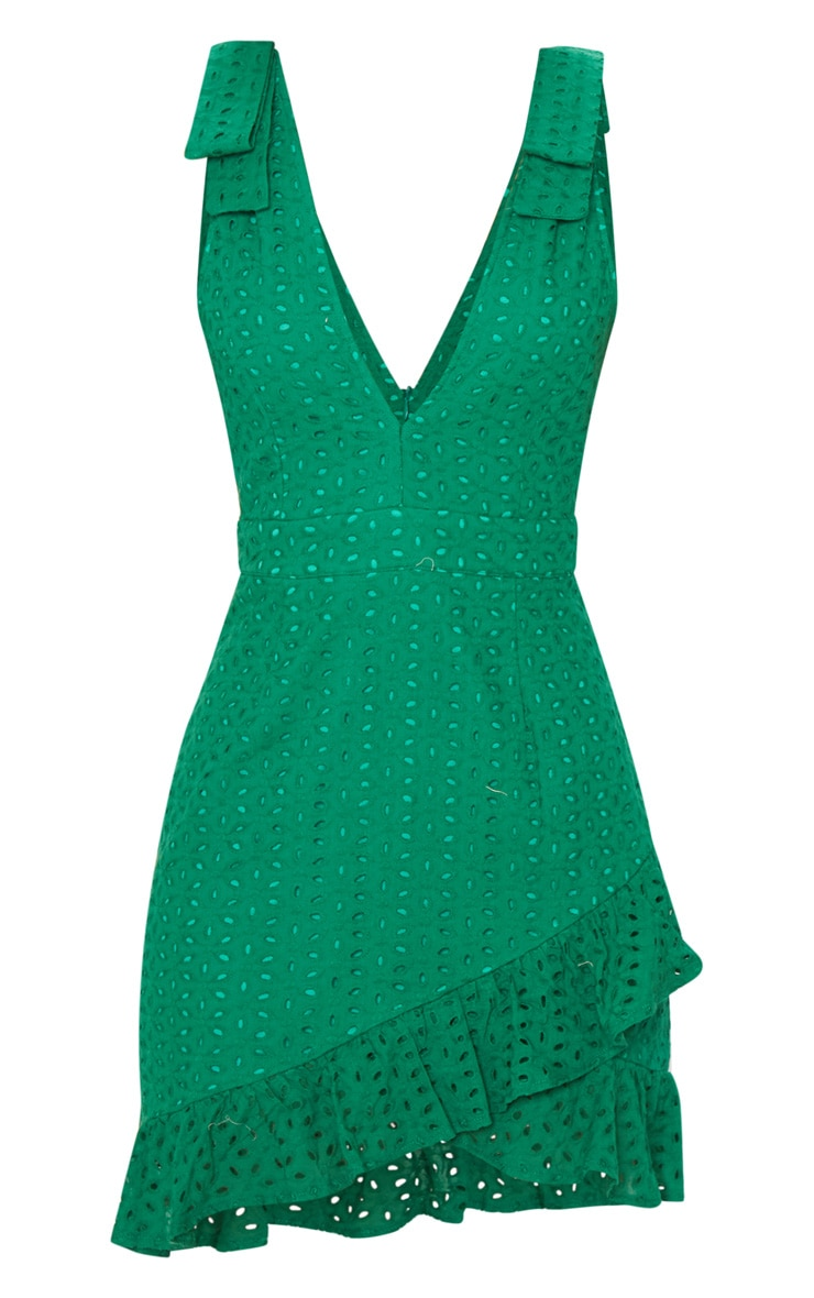 Green Broderie Anglaise Strap Detail Frill Hem Shift Dress 3