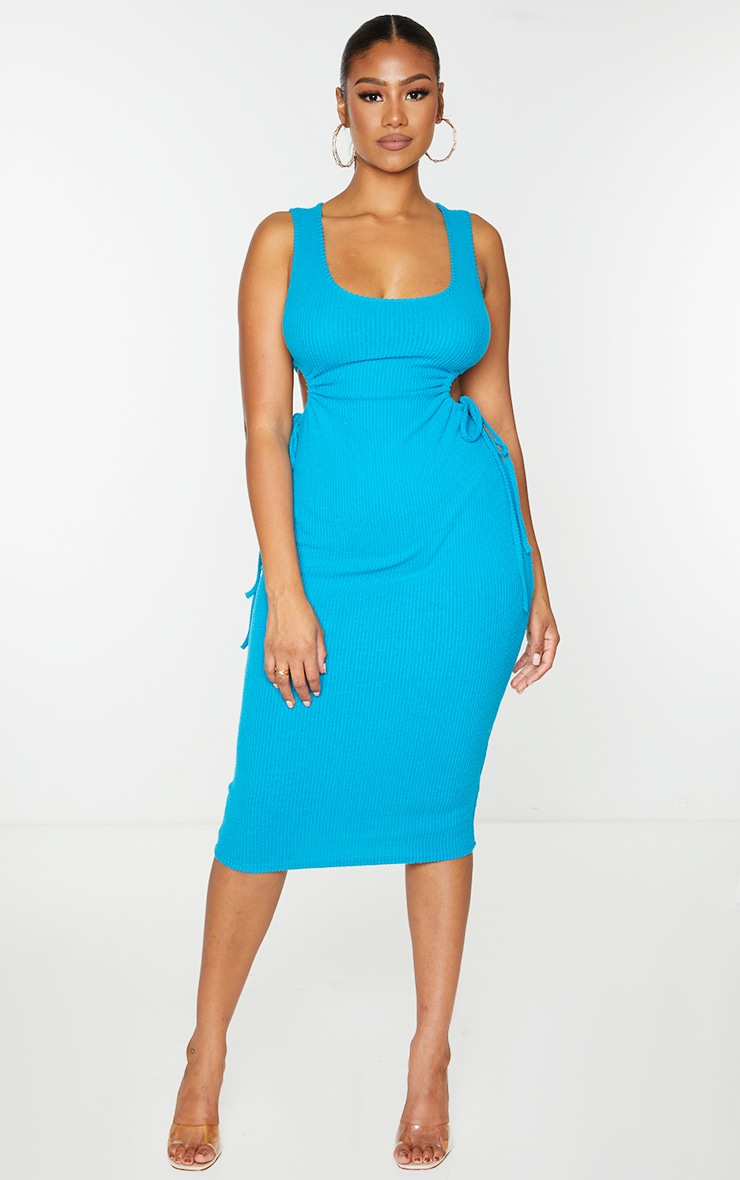 Petrol Blue Brushed Rib Cut Out Sleeveless Midaxi Dress 1