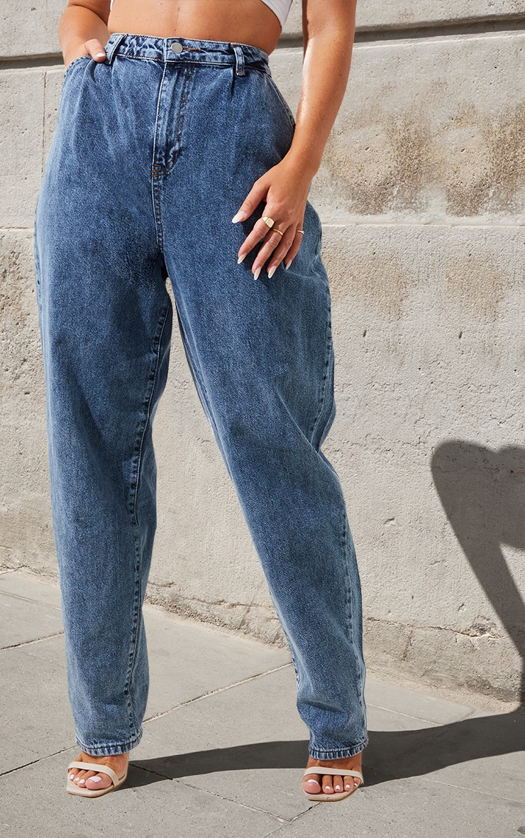 Mid Wash Oversized Balloon Mom Jean 2
