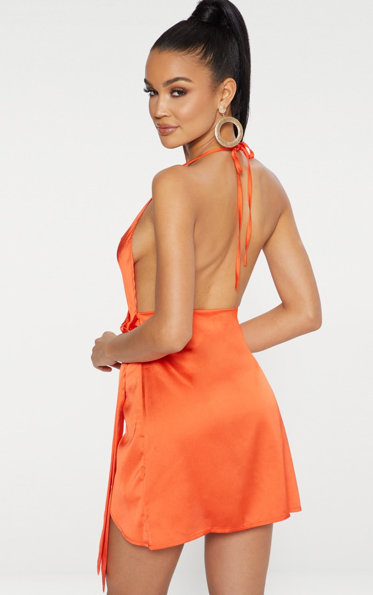 Orange Satin Halterneck Wrap Bodycon Dress 2