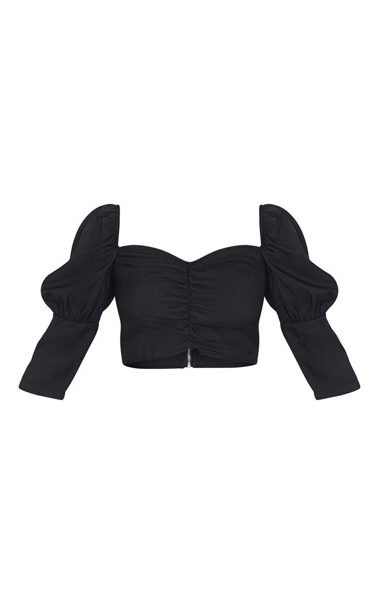 Petite Black Ruched Blouse 5