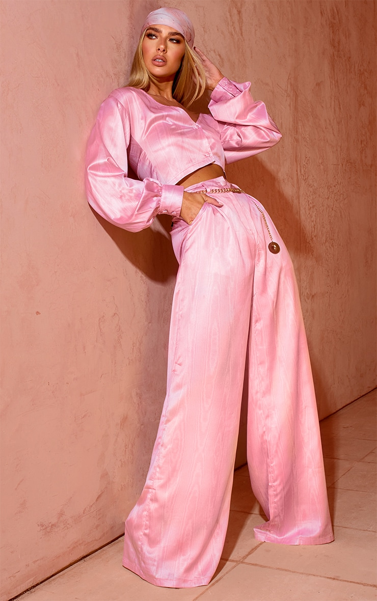 Pink Satin Taffeta Print Long Sleeve Crop Top