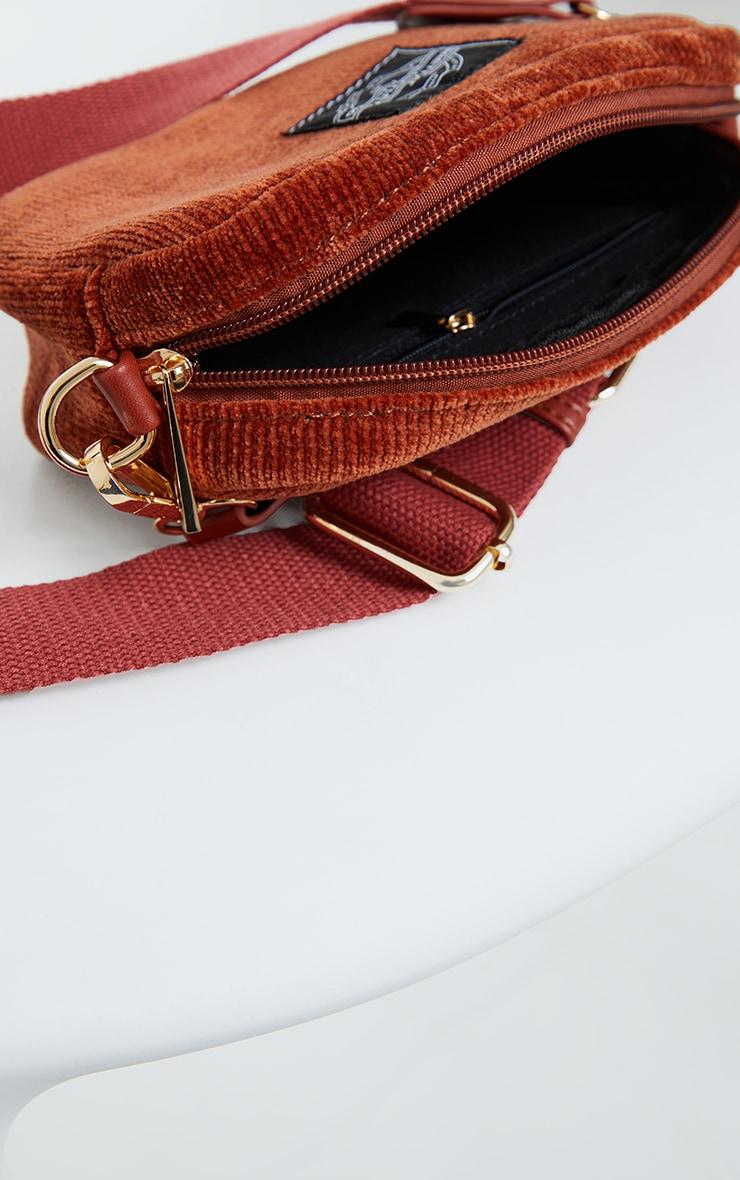 PRETTYLITTLETHING Burgundy Cord Mini Cross Body Bag 4