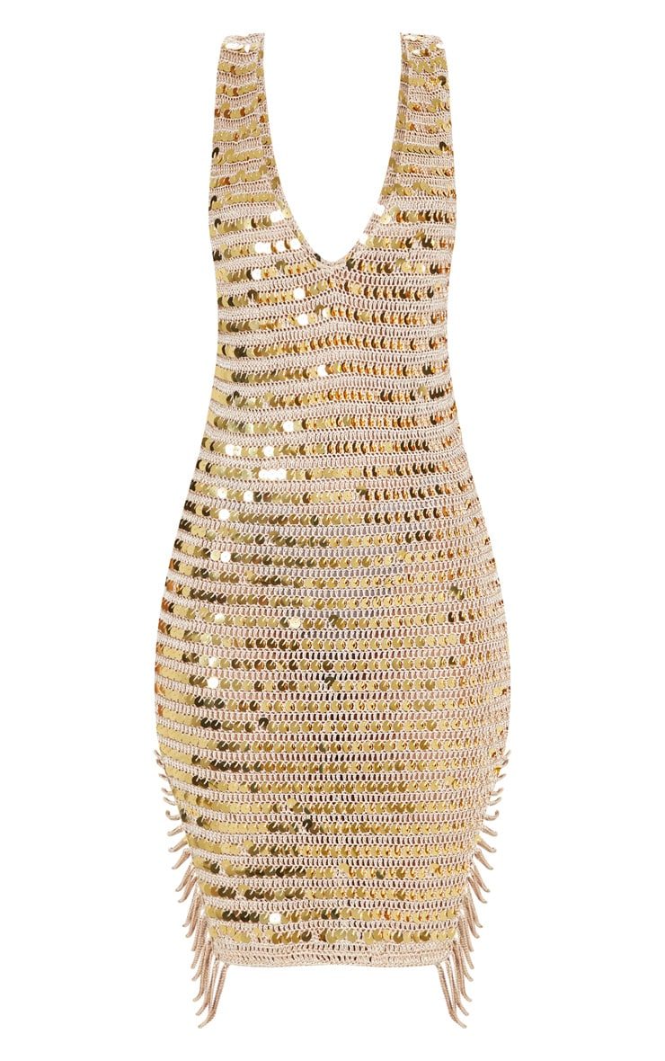 Gold Sequin V Neck Knitted Dress 3