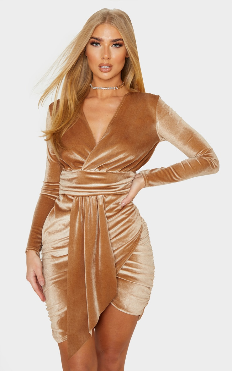 Mocha Velvet Drape Detail Ruched Bodycon Dress 4