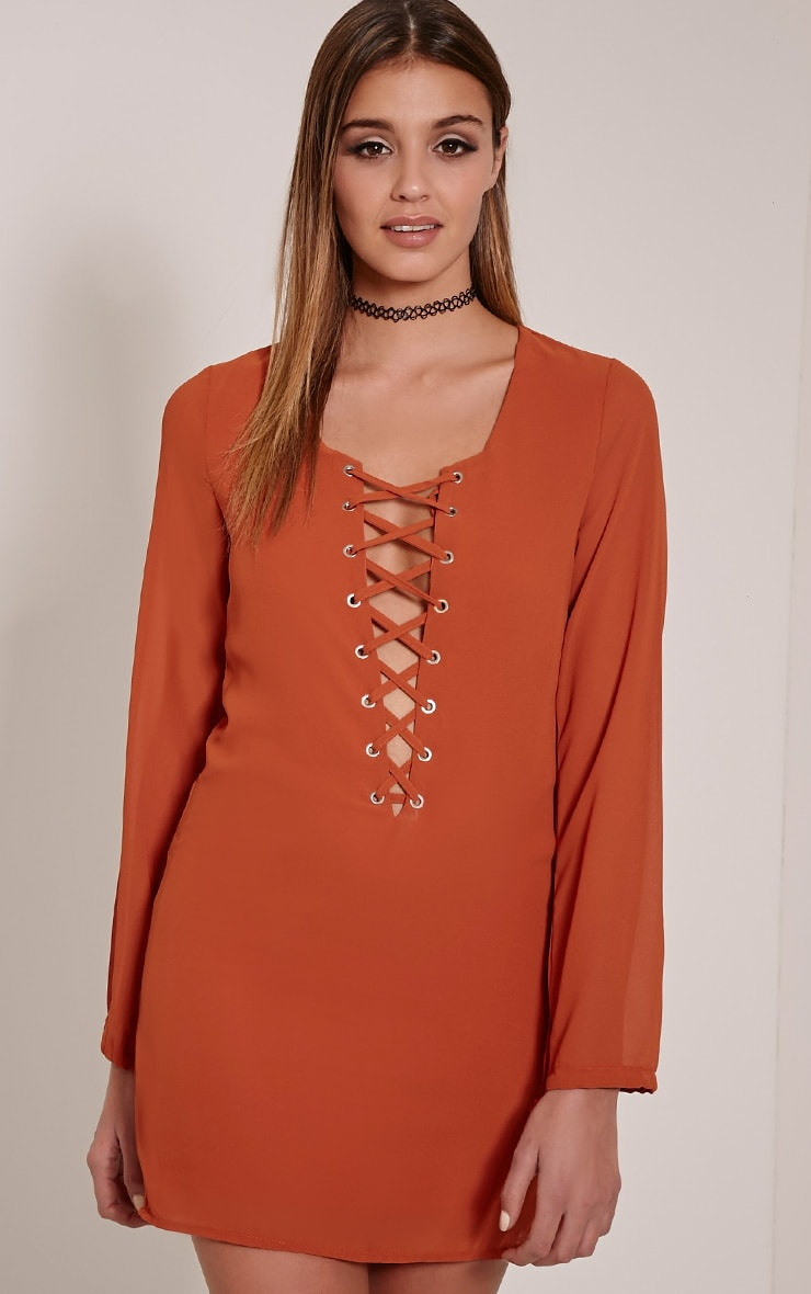 Pammy Rust Lace Up Front Shift Dress 4