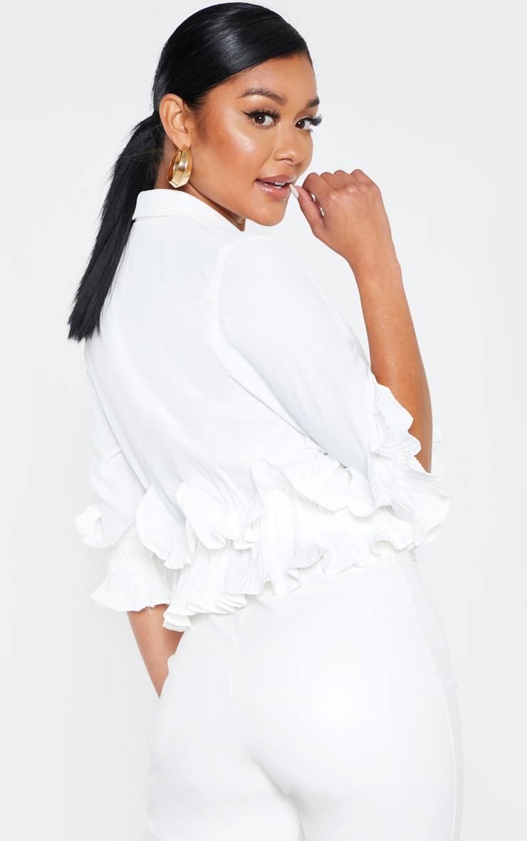 White Frill Detail Pleated Blouse 2