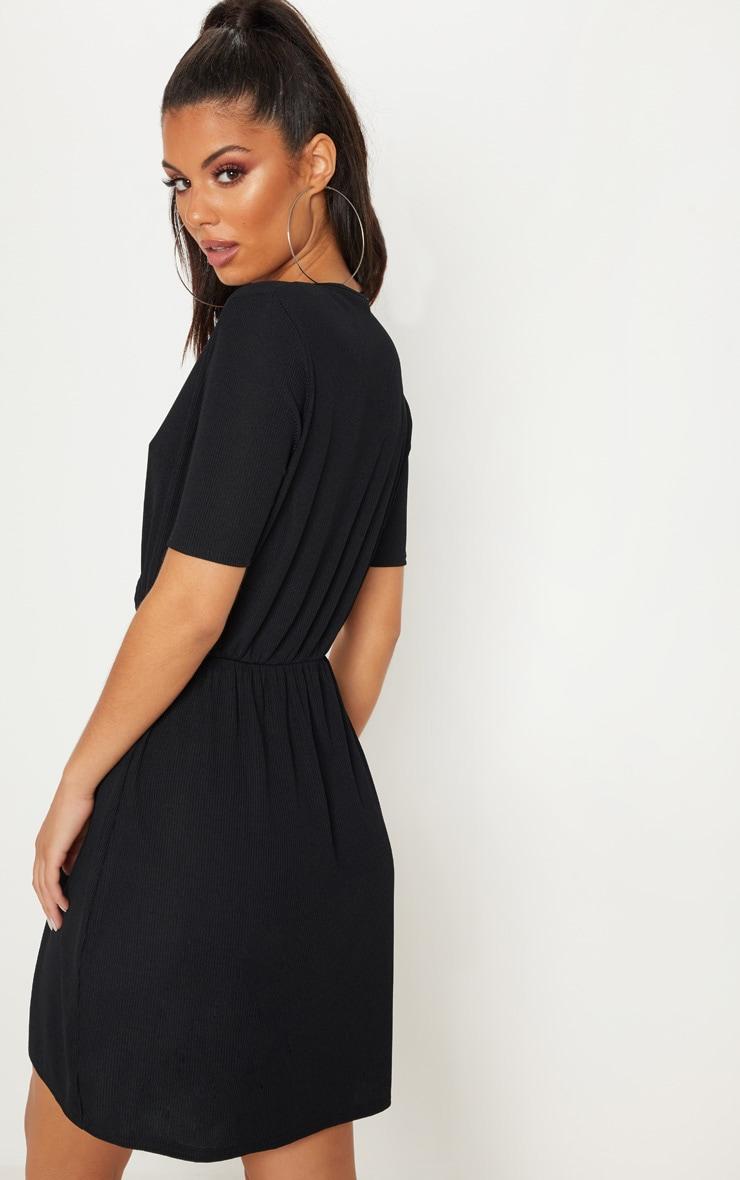 Black Wrap V Neck Short Sleeve Rib Dress 2