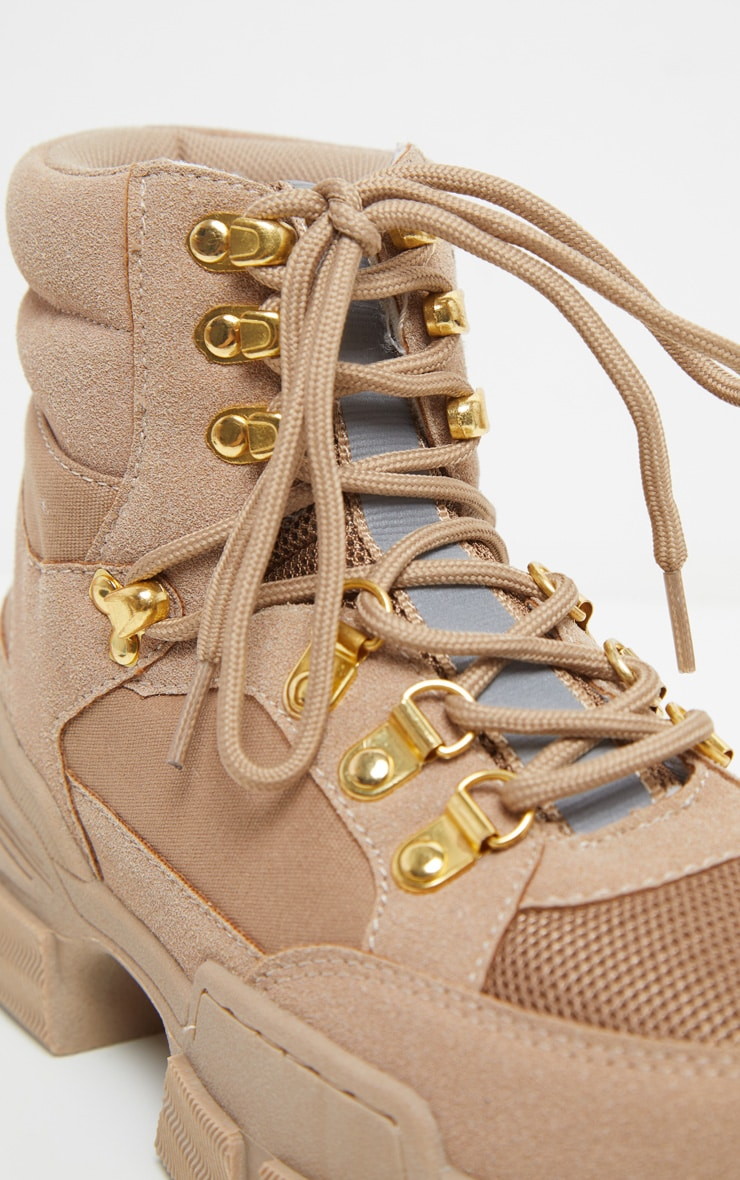 Tan Lace Up Cleated Sole Hiker Boot 4