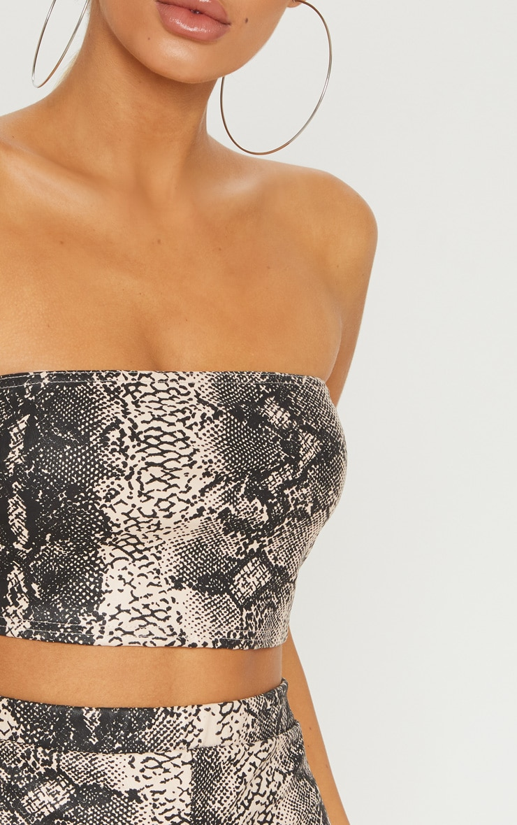 Nude Faux Leather Snakeskin Bandeau Crop Top 5