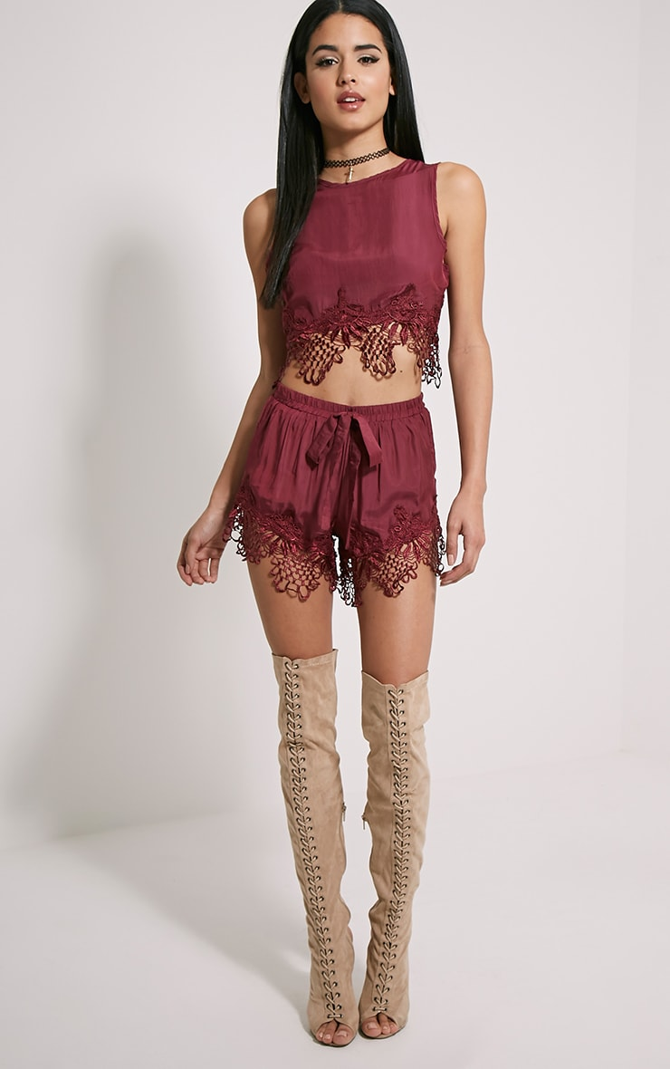 Rashida Burgundy Crochet Trim Crop Top 3