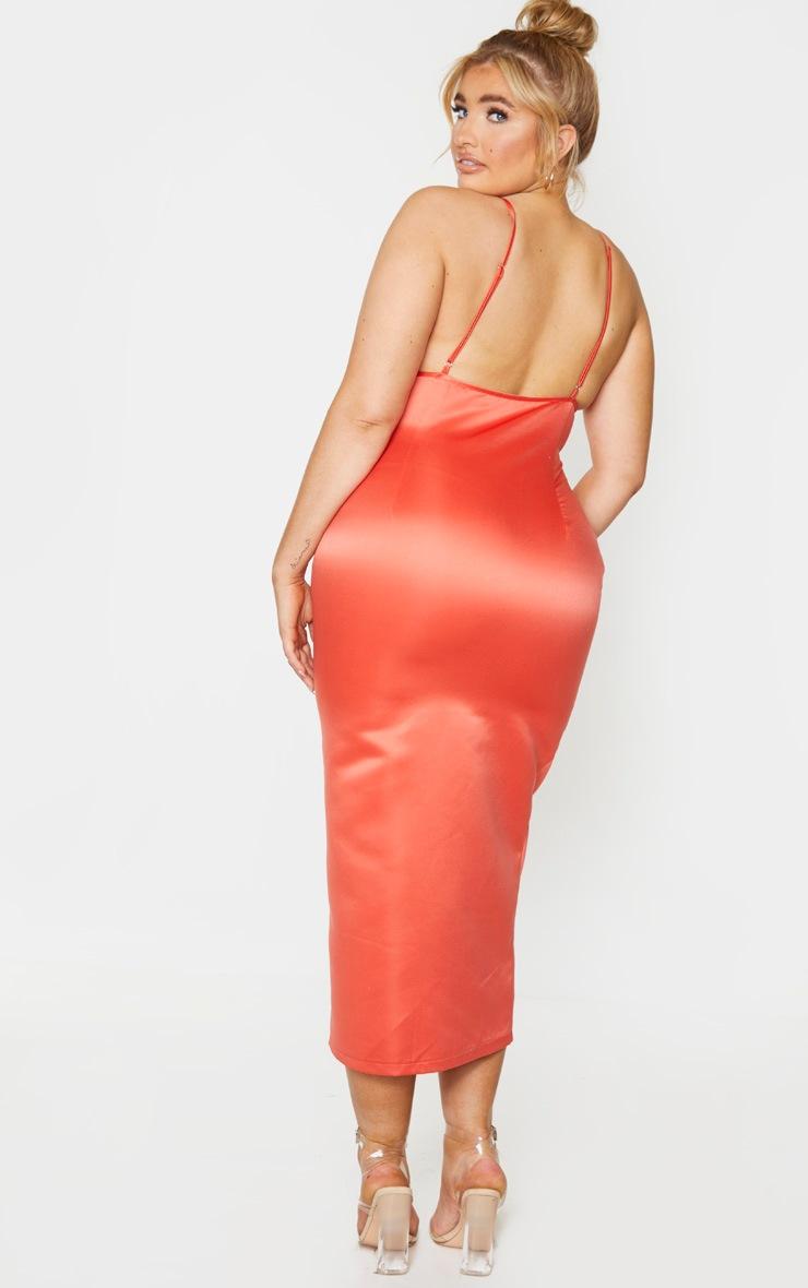 Plus Coral Structured Satin Waist Detail Midaxi Dress 2